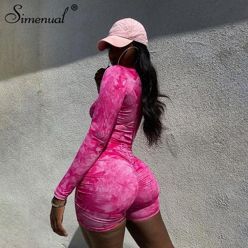 Simenual Tie Dye Ruched Casual Biker Shorts Rompers Women Long Sleeve 2020
