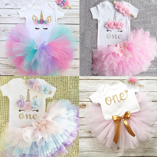 1 Year Baby Girl Clothes Unicorn Party tutu Girls Dress Newborn Baby