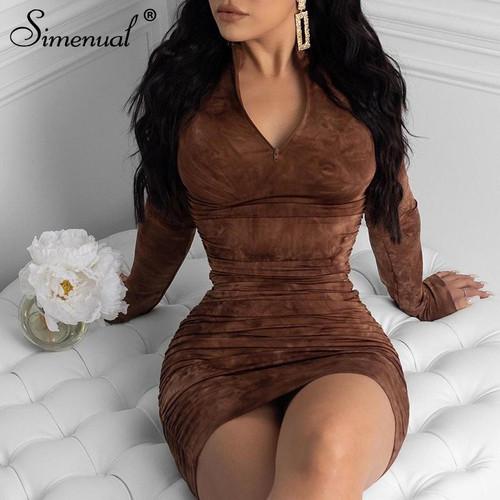 Simenual Tie Dye Print Fashion Women Midi Dress Long Sleeve  Party Dresses