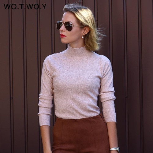 WOTWOY  Solid Cashmere Sweater Women Knitted Long Sleeve Turtleneck