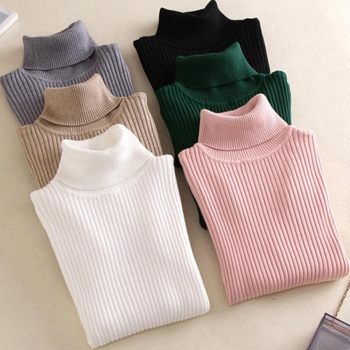 New Winter Women Knitted  Sweater Turtleneck Casual Soft polo-neck