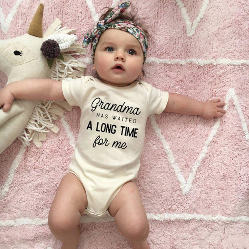 Grandma Waited A Long Time for Me Baby Girls Boys Jumpsuit Newborn  0-24Months