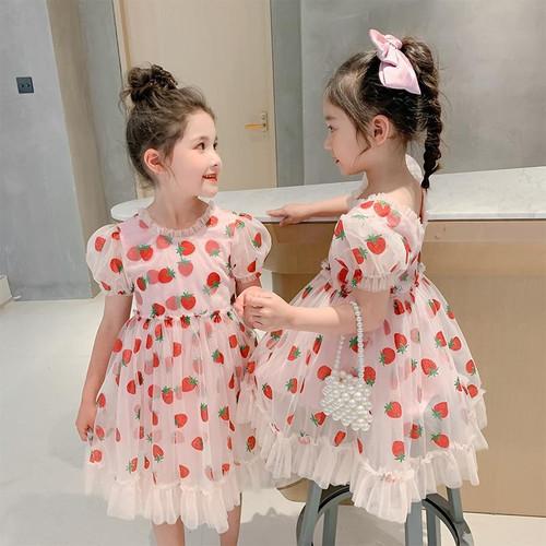 Girls Summer Dress Kids Dresses Princess Dress Pink Strawberry Teens 3T-14Y