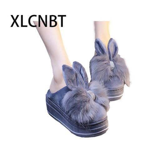 plush indoor slipper women high heel platform winter keep warm home slipper cotton fabric lovely girl shoes winter outside shoes - Joelinks store