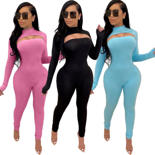 JRRY Two Pieces Women Ribbed Set Pullover Jumpsuit 2 Pieces Ribbed Leisure