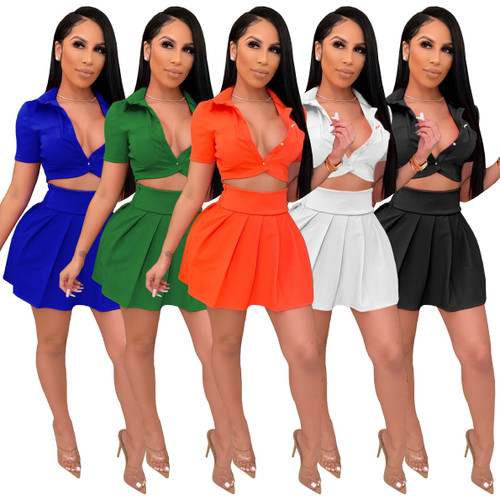 JRRY Women Leisure Suits Two Pieces Sets Short Sleeve Pockets Buttons Top