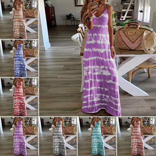 Plus Size Womens Summer V-Neck Maxi Dress Ladies Beach Casual Loose Boho Dress