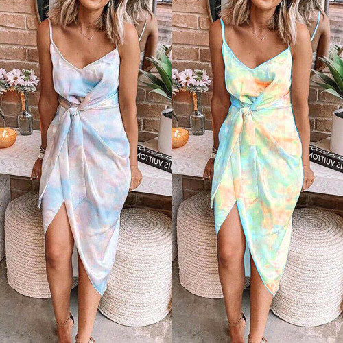 Womens Tie Dye Strappy Midi Dress Ladies Summer Beach Party Sleeveless Sundress