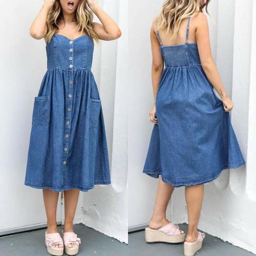Womens Casual Vintage Denim Sling Dress Summer Strappy Pocket Dresses Size10-16