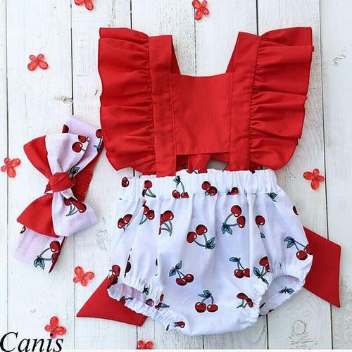 Newborn Baby Girl  Cherry Romper  Headband Outfit 2 Pcs