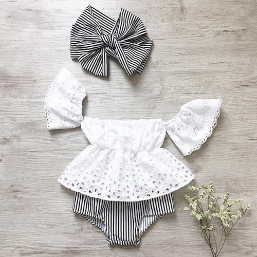 Baby Girl Off  Lace Tops Stripe Shorts Briefs Summer  three pcs Outfit Clothes