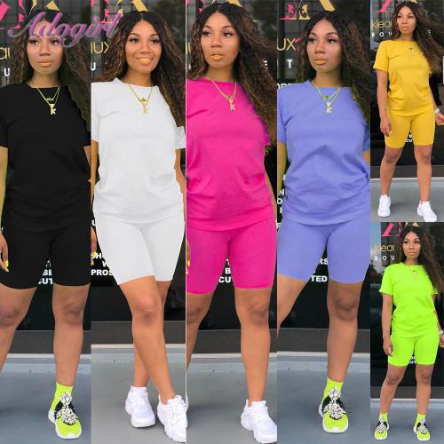 Women Tracksuit 2 Piece Set Solid Short Sleeve Fitness Wear