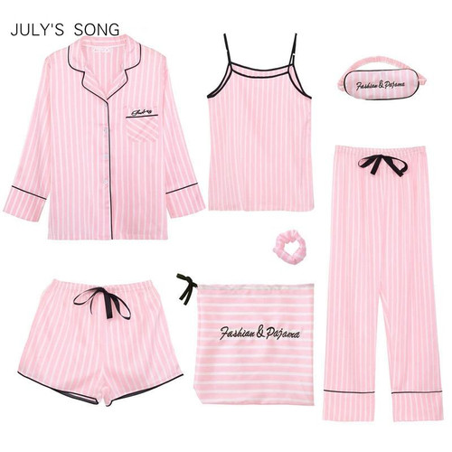 Women's 7 Pieces  Silk Striped Pyjamas Women Sleepwear