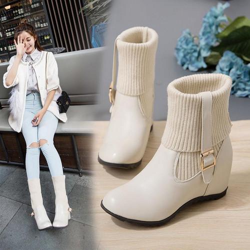 Spring fashion plus size elegant leather boots