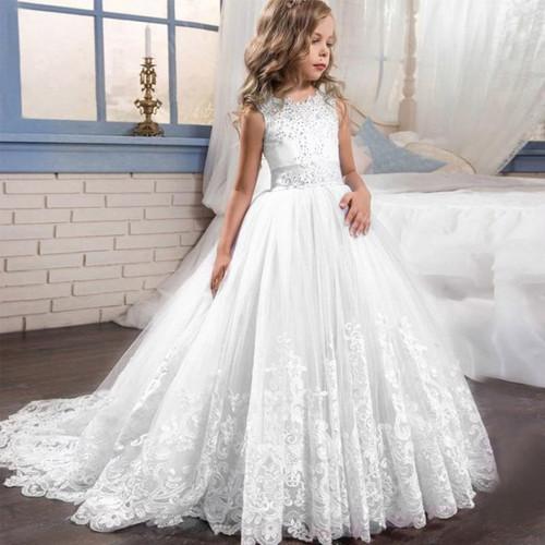 Elegant Wedding Dress Girl Bridesmaid First Communion Party Dress For Girls Children