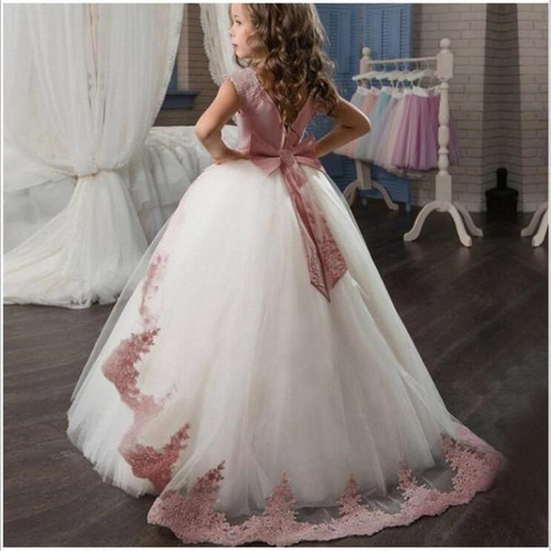 Flower First Communion Wedding Party Lace Princess Girl Dress