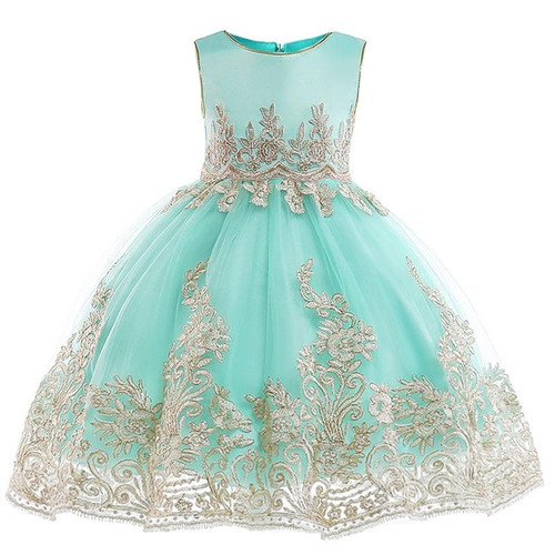 Retail Appliques Princess Girls Birthday Evening Party Gown Dress Noble
