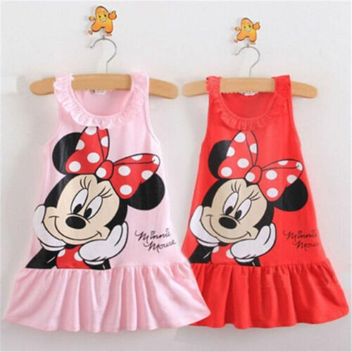 Girl Clothes  Princess Cartoon Printed Dresses one to six years