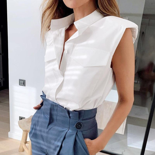 New Summer Fashion Casual  Sleeveless Shirt Top For Women