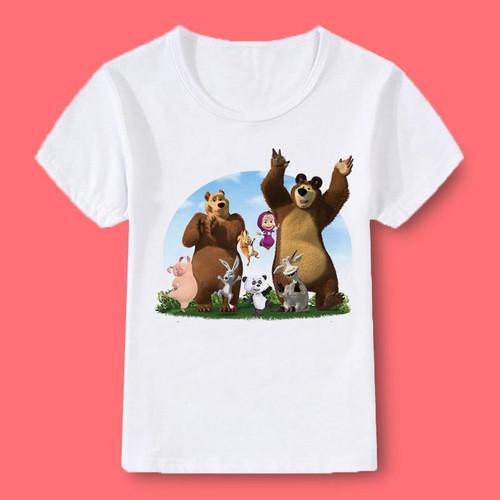Girl Tops Masha and bear print summer O-neck T-shirt