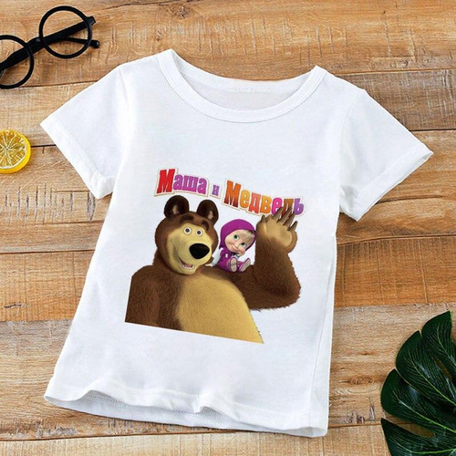 Childrens Short-sleeved Summer Masha And Bear for Boys and Girls
