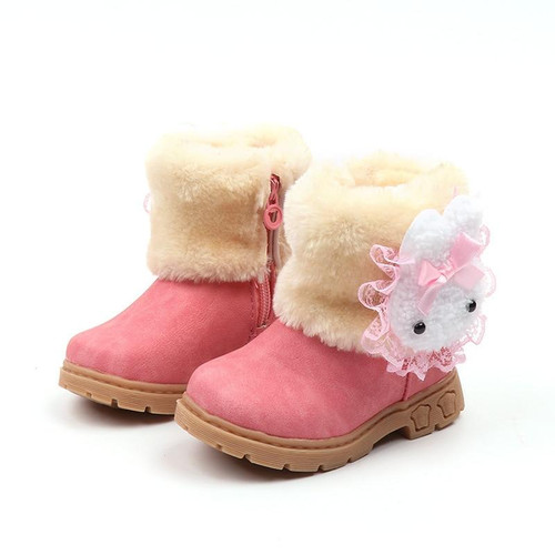 2018 Winter Girls Boots Warm Cotton With Cartoon Rabbit Lace Kids Boots Fashion Snow Boots Children Winter Shoes Toddler Girl - Joelinks store