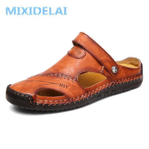 Summer Sandals Men Leather Classic Roman Sandals Slipper Outdoor Sneaker