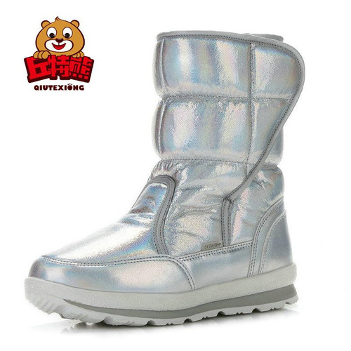 Snow Boots Children Waterproof Patent Leather Girls Mid Calf Boots Sheep Wool Warm Kids Winter Boots Boys Shining Girl Shoes - Joelinks store