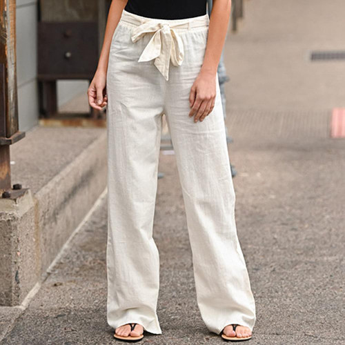 SHUJIN Women Pants Linen Cotton Casual Pants Trousers