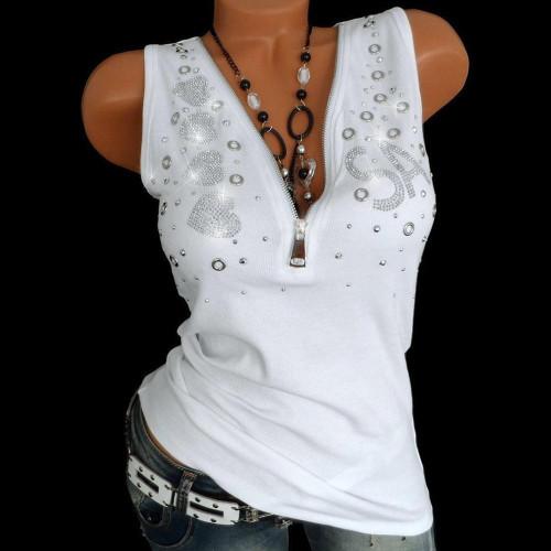 Women Zipper Sleeveless Top Blouse For Summer