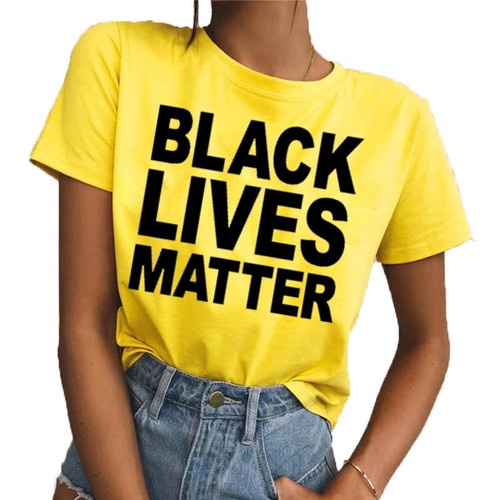BLACK LIVES MATTER Printed Round Neck Short Sleeve Yellow Loose Woman T Shirts Tops