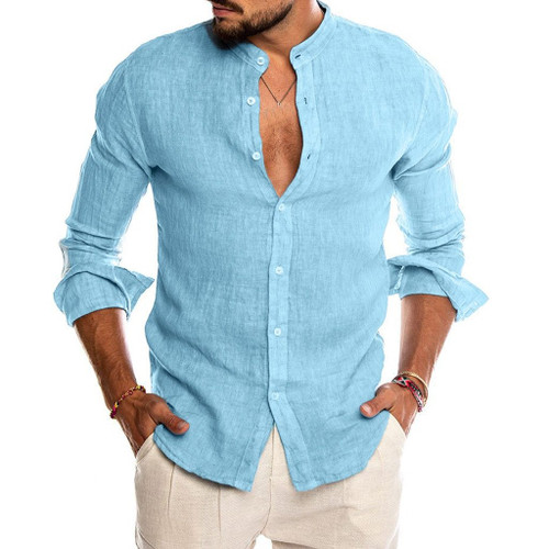 Casual Cotton Linen Loose Tops Shirt For Men