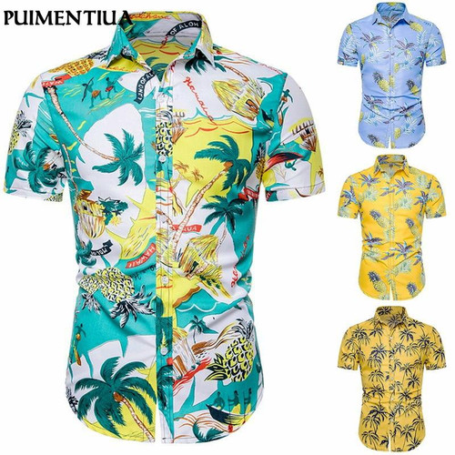Puimentiua Men's  Short Sleeve Hawaiian Shirt Summer Beach Holiday