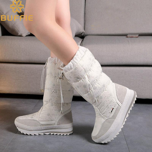 Knee-High Girls winter boots zipper up shoe white colour 2018 new season top quality soft warm fur free shipping teenager female - Joelinks store