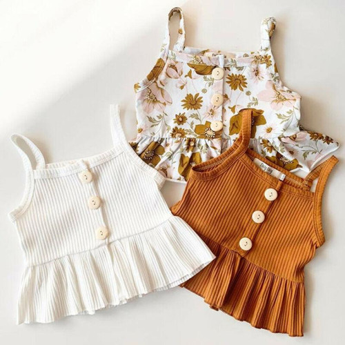 Summer Clothes Sleeveless Knitted Vest Tops Dress For Kids