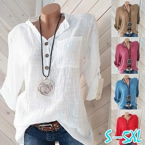 Women Blouses  Long Sleeve Button V Neck  Casual Shirt
