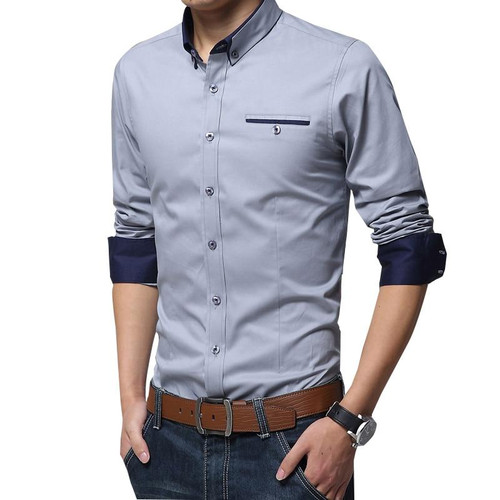 Men Casual Formal long Sleeve Shirt Business Slim Office Shirt