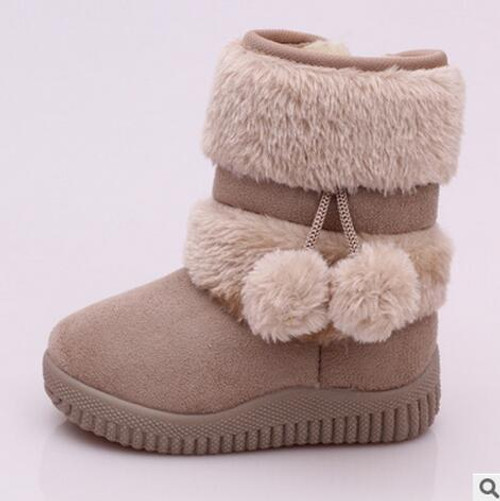 Thick Warm Kids Boots With Lobbing Ball Thick for Girls
