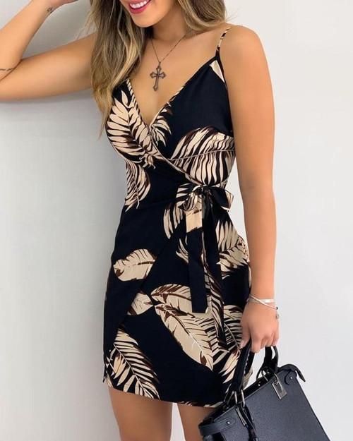 V Neck Leaf Print Mini Summer Dress For Women Spaghetti Strap