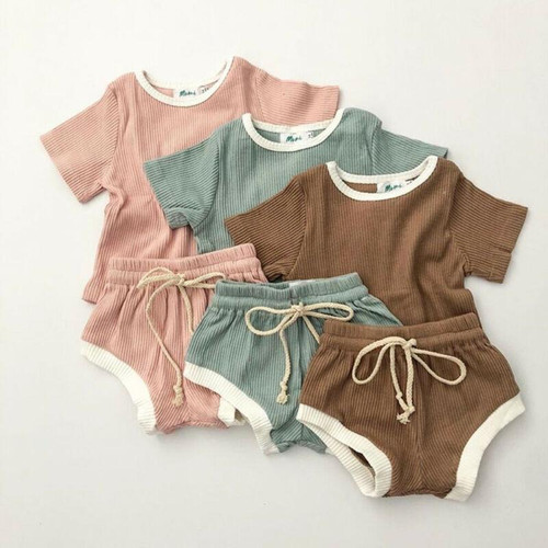 Casual Short Sleeve Tops T-shirt Shorts For Toddler Infant
