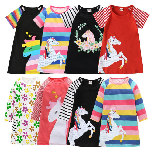 Rainbow A-line Cotton Princess Kids Tops for girls Outfits for 1 to 7 Y