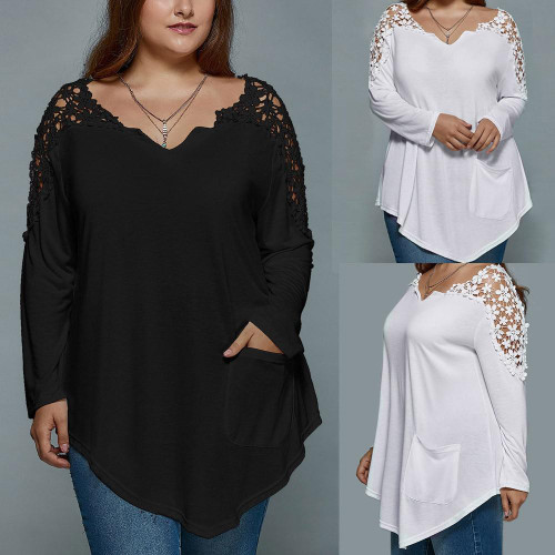 Summer  V-neck Top Plus Size Fashion For Ladies