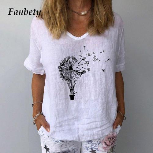 Elegant Floral Print Linen Cotton V Neck Blouse Tops New 3XL Ladies