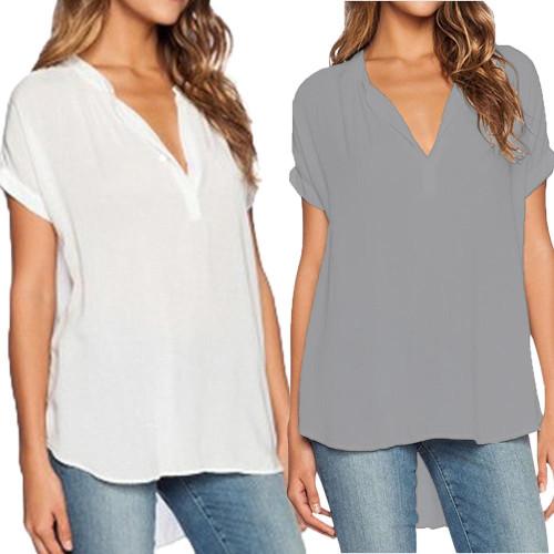 Women Female Chiffon Blouse V-Neck Short Sleeve Shirts
