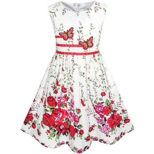 Disfraz Casual Summer Ball Gown Floral Bow Tie  Dresses for Girl