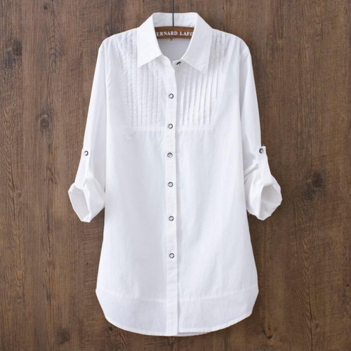 Summer White Cotton Casual White Shirts For Women Ladies
