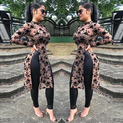 2020 Spring Women Fashion Mesh Print Long Tops Casual Shirts