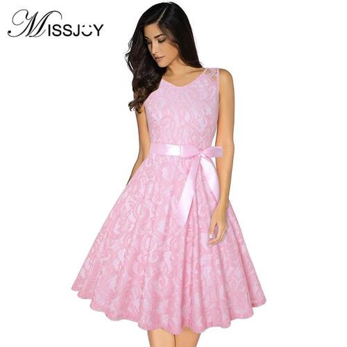 MISSJOY Crochet Floral Lace vintage dress Fashion For Women Ladies