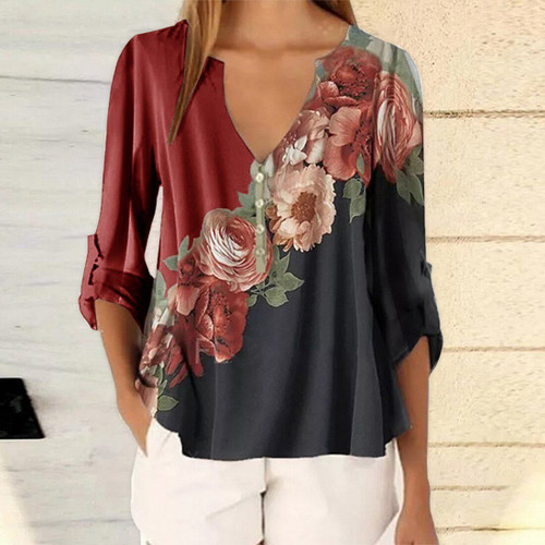 Floral Print Women Casual Office Blouse For Ladies Women