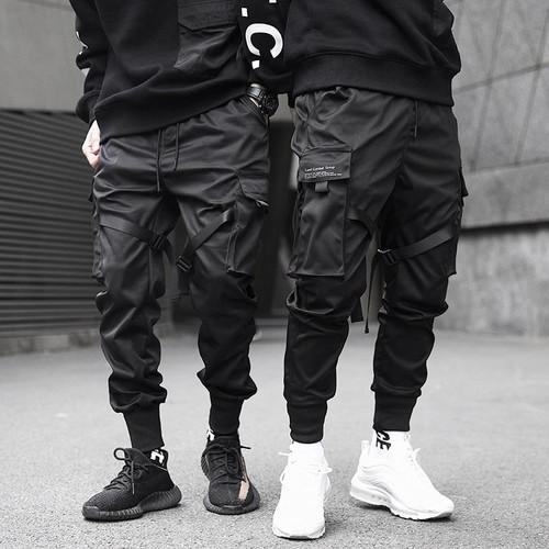 Men Ribbons Black Pocket Cargo Pants Hip Hop Trousers